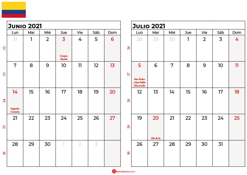 calendario junio julio 2021 colombia