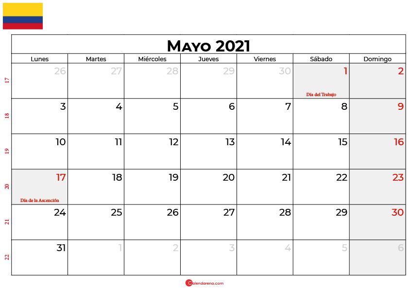 calendario mayo 2021 colombia