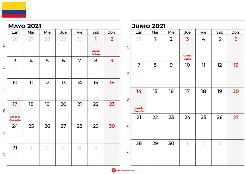 calendario mayo junio 2021 colombia