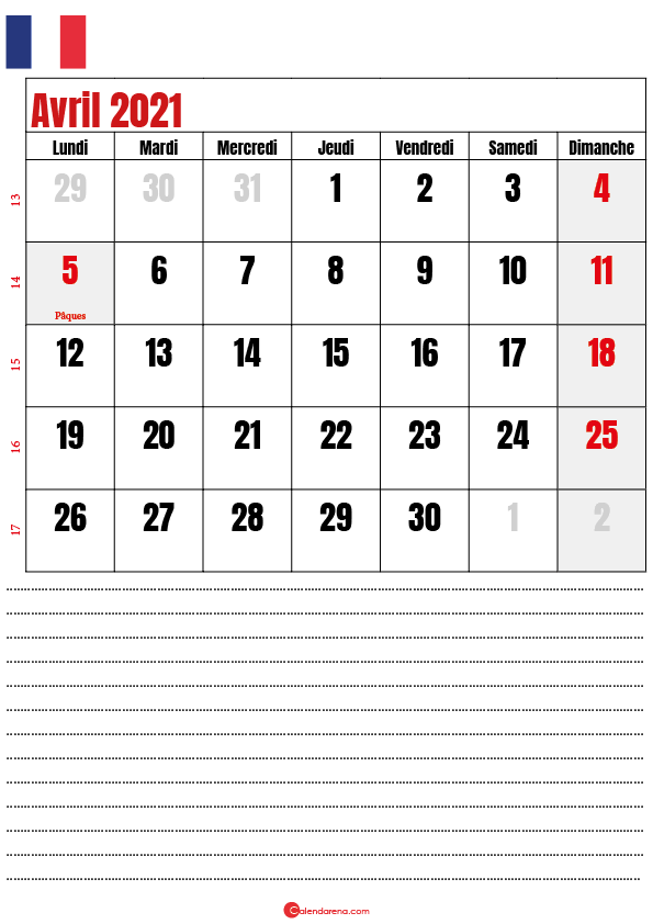 calendrier 2021 avril france