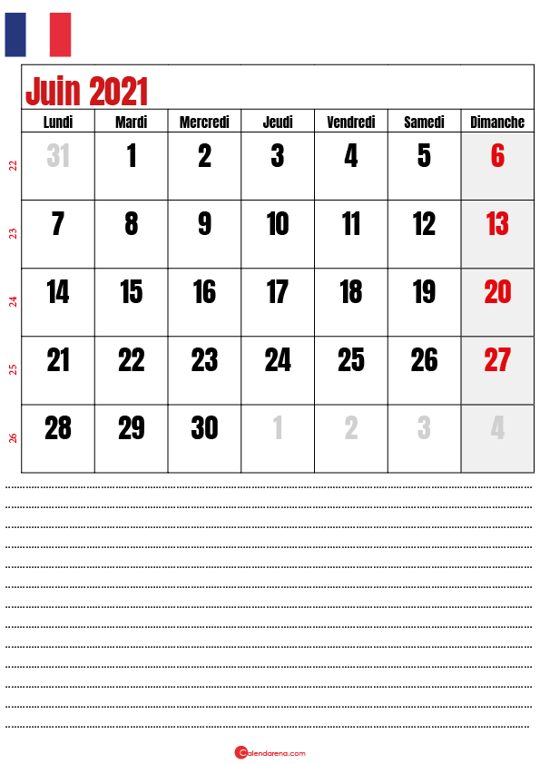 calendrier 2021 juin france