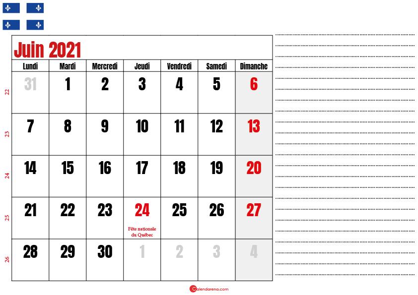 calendrier 2021 juin québec canada