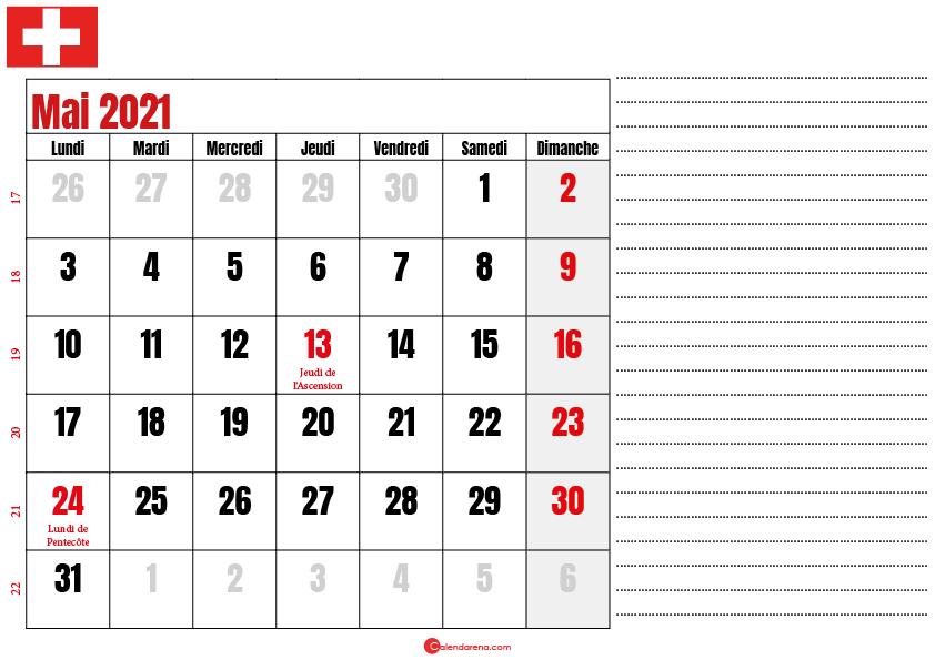 calendrier 2021 mai suisse