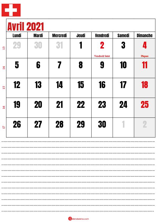calendrier à imprimer avril 2021 suisse