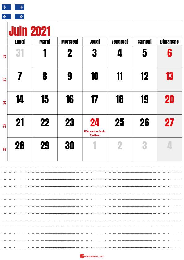 calendrier à imprimer juin 2021 québec canada