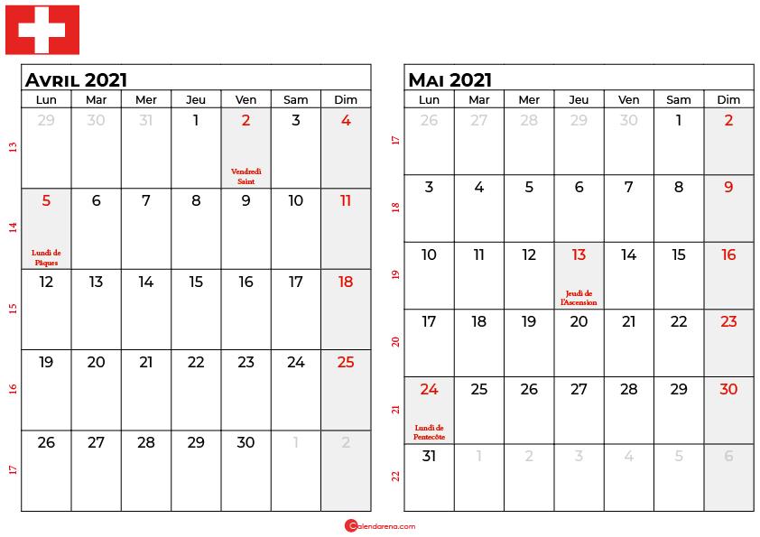 calendrier avril mai 2021 suisse
