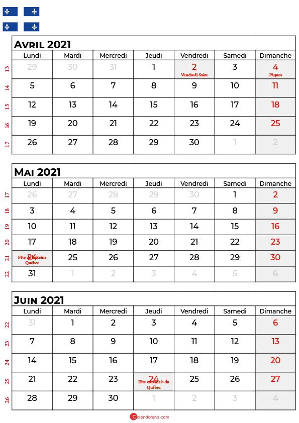 calendrier avril mai juin 2021 québec canada