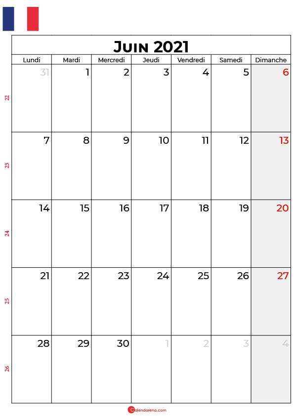 calendrier juin 2021 à imprimer france