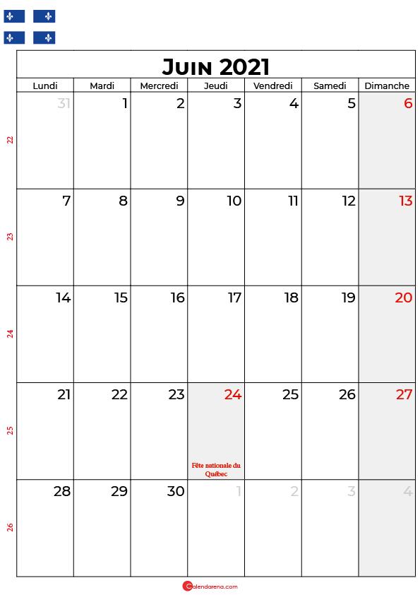 calendrier juin 2021 à imprimer québec canada