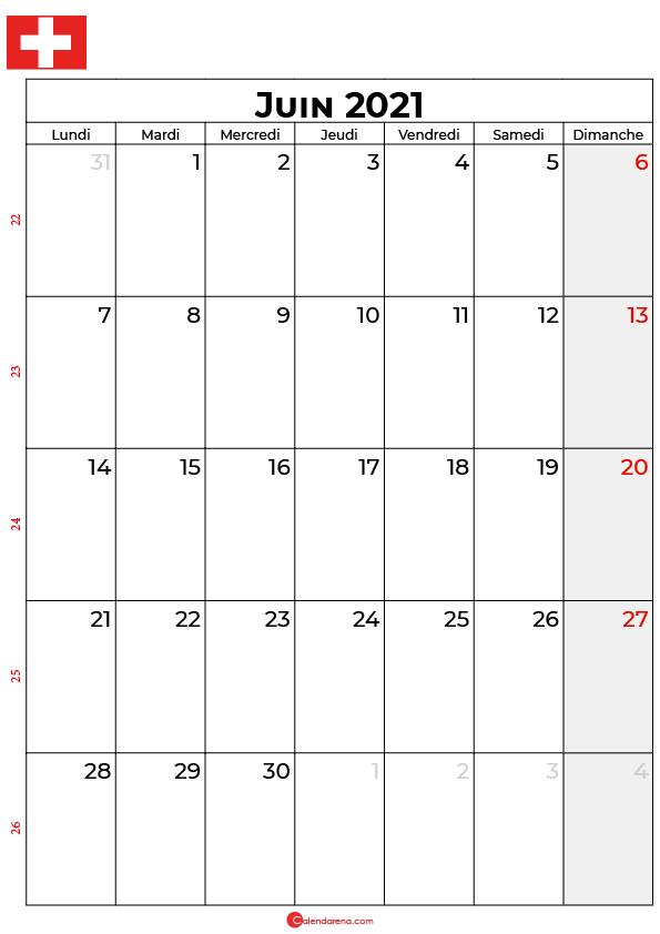 calendrier juin 2021 à imprimer suisse