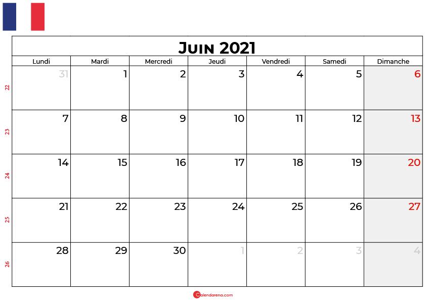 calendrier juin 2021 france