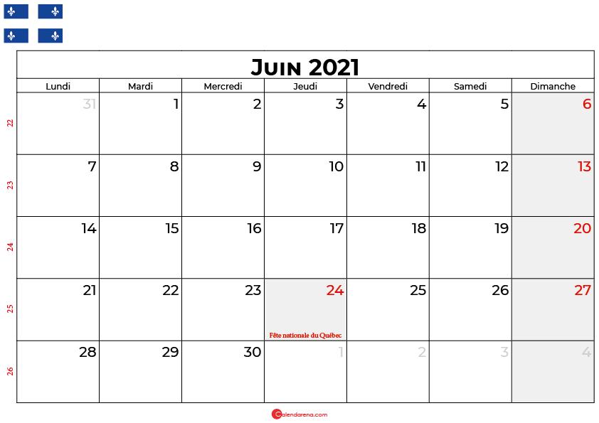 calendrier juin 2021 québec canada