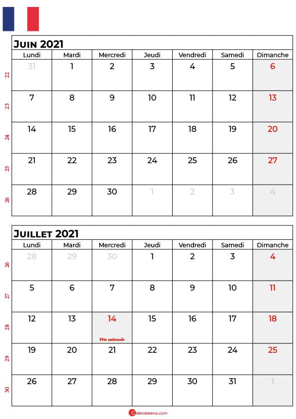 calendrier juin juillet 2021 france
