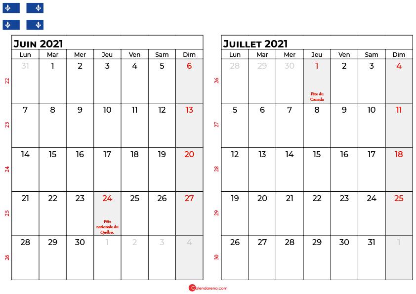 calendrier juin juillet 2021 québec canada