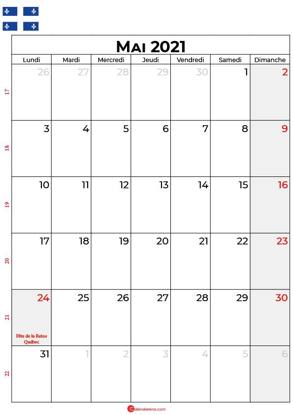 calendrier mai 2021 à imprimer québec canada