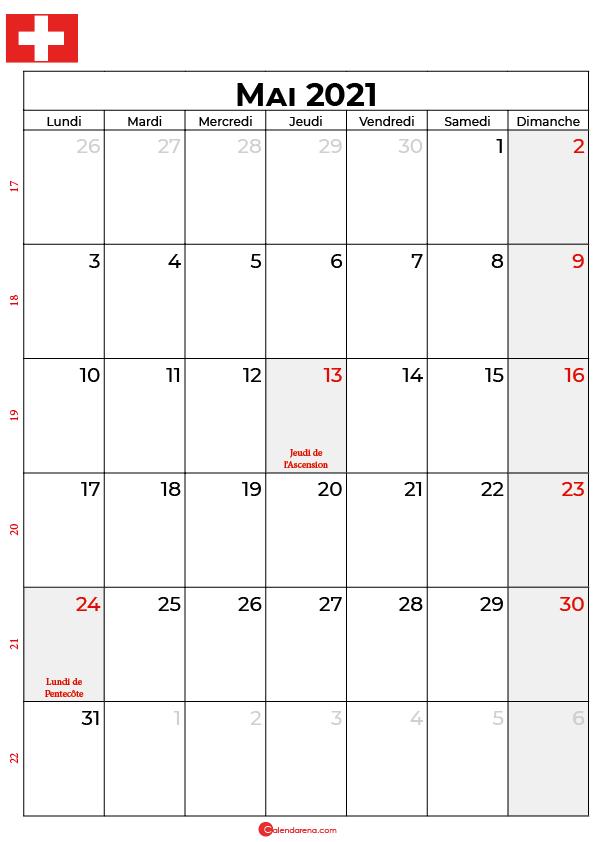 calendrier mai 2021 à imprimer suisse