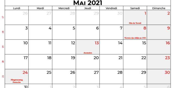 calendrier mai 2021 france