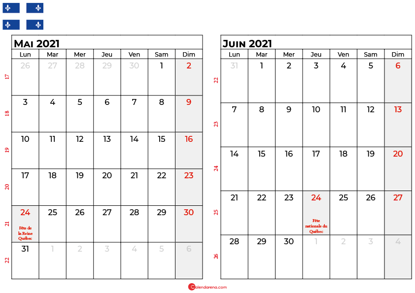 calendrier mai juin 2021 québec canada