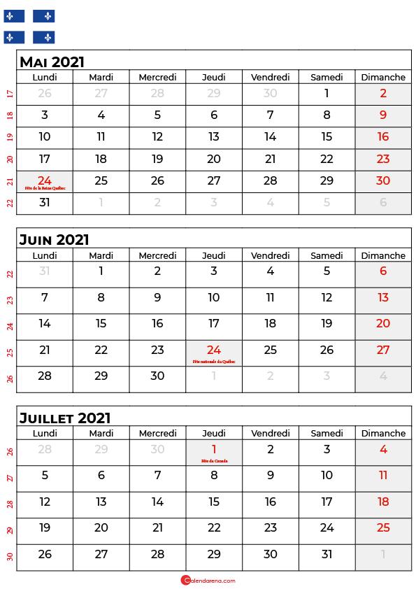 calendrier mai juin juillet 2021 québec canada