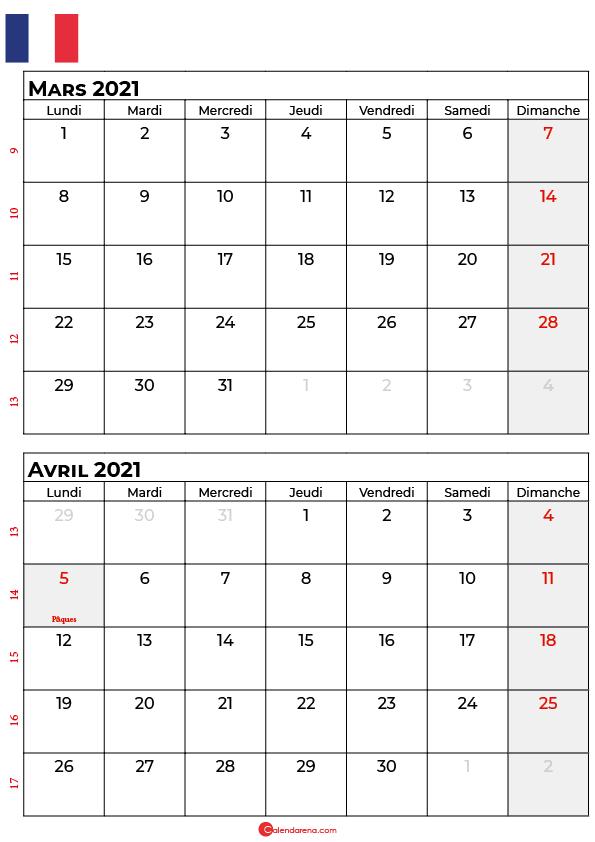 calendrier mars avril 2021 france