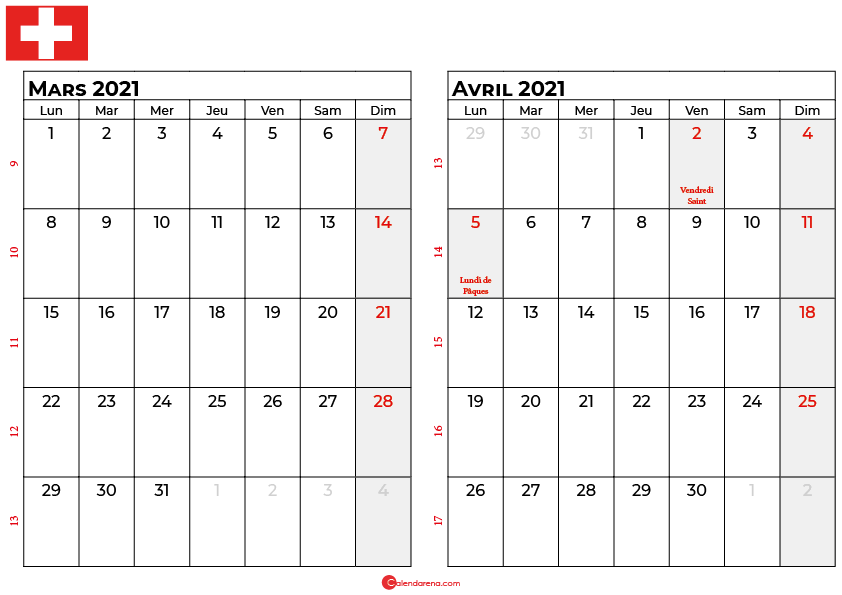 calendrier mars avril 2021 suisse