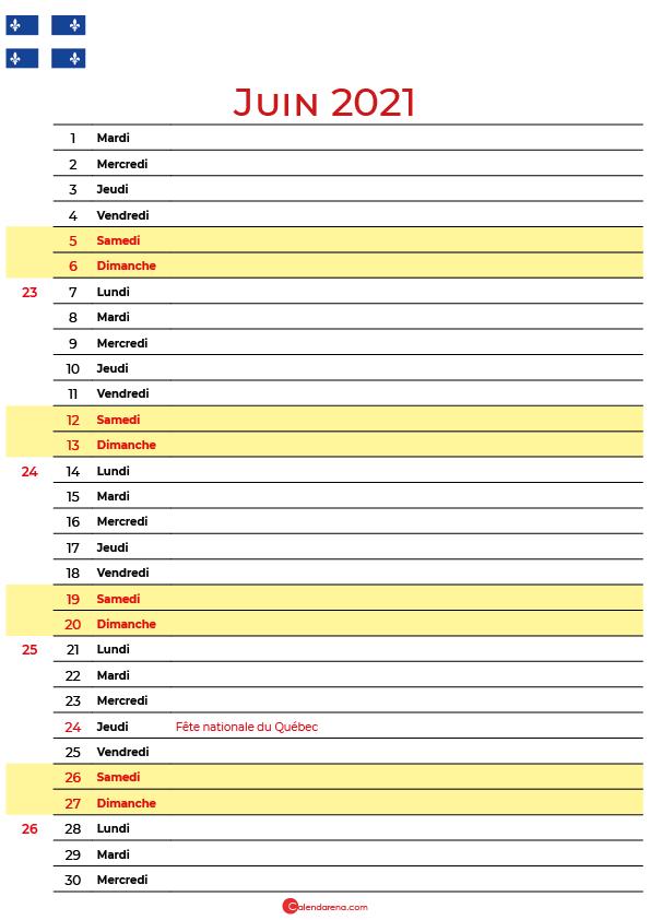 juin 2021 calendrier québec canada