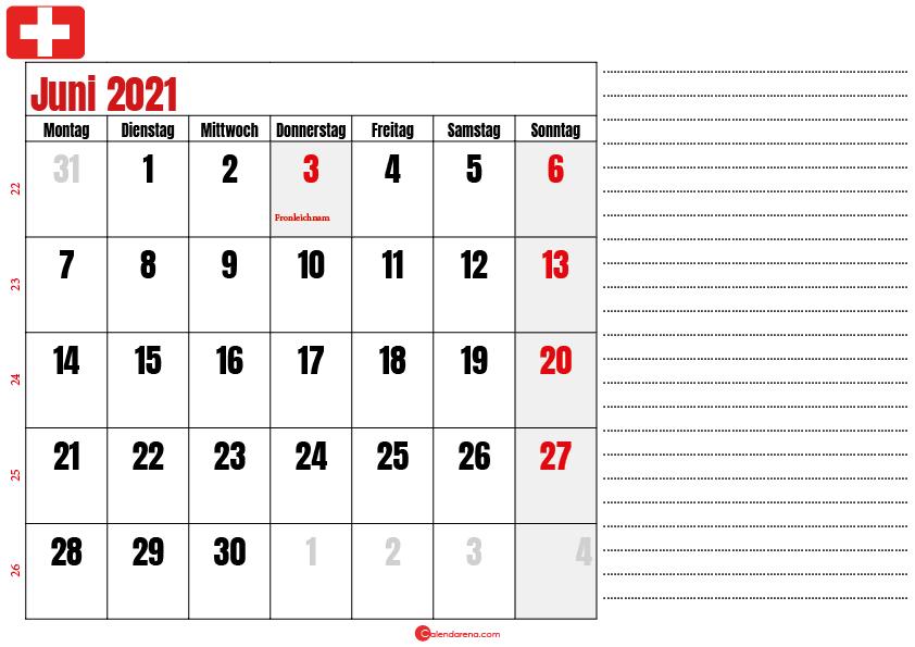 juni kalender 2021 Schweiz