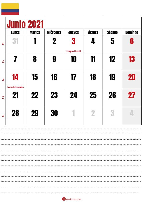 junio 2021 calendario colombia