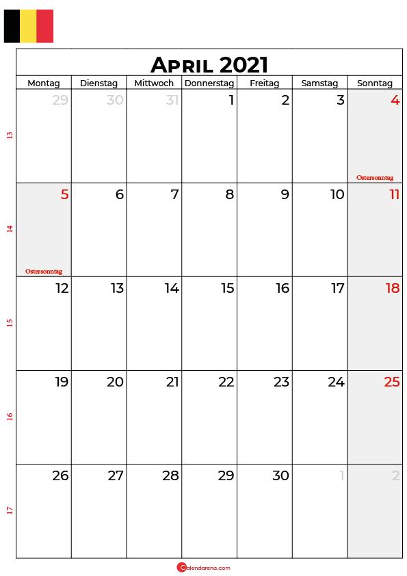 kalender 2021 april Belgien