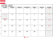 kalender 2021 april Österreich