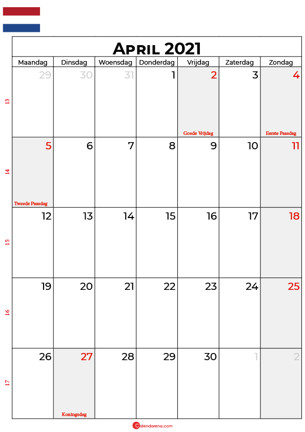 kalender 2021 april nederland