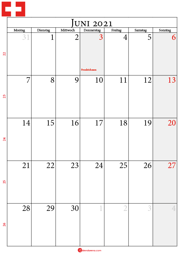 kalender 2021 juni Schweiz