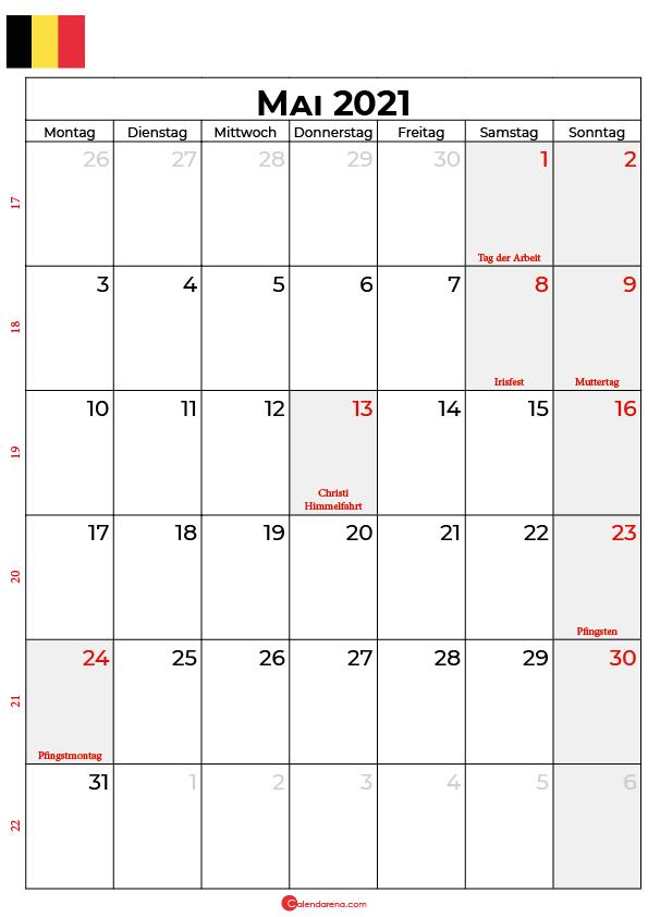kalender 2021 mai Belgien
