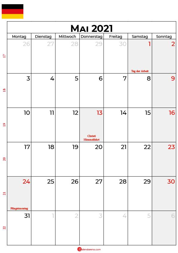 kalender 2021 mai Deutschland