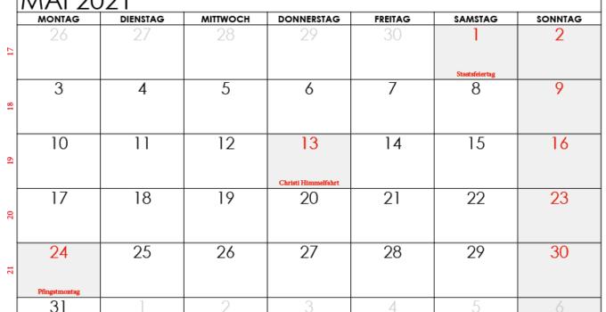 kalender 2021 mai Österreich