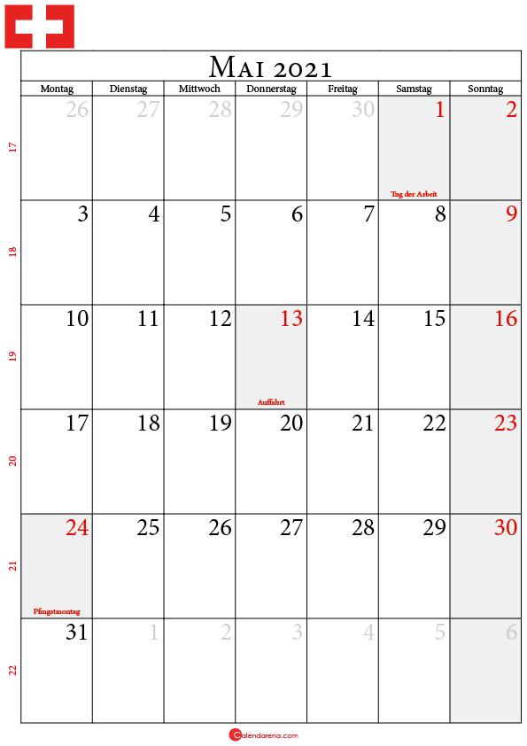 kalender 2021 mai Schweiz