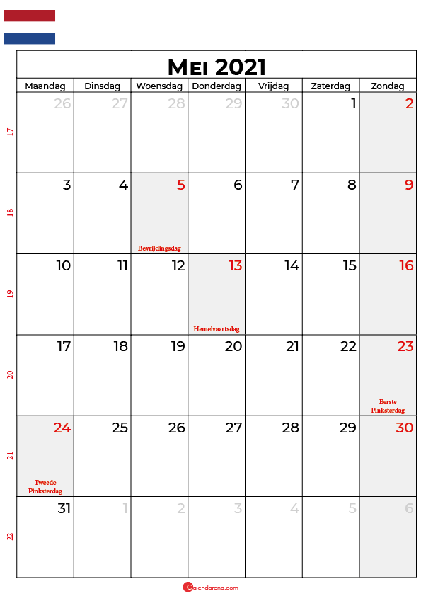 kalender 2021 mei nederland