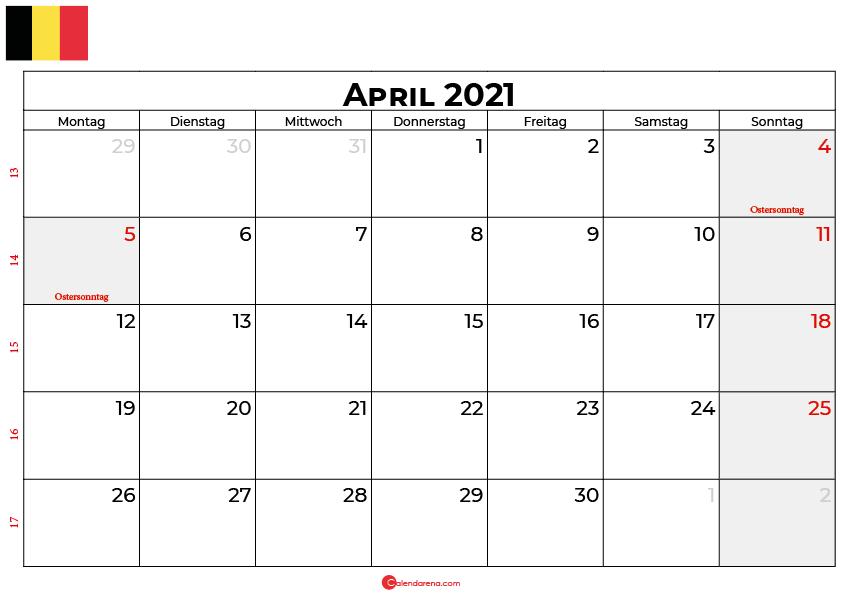 kalender april 2021 Belgien