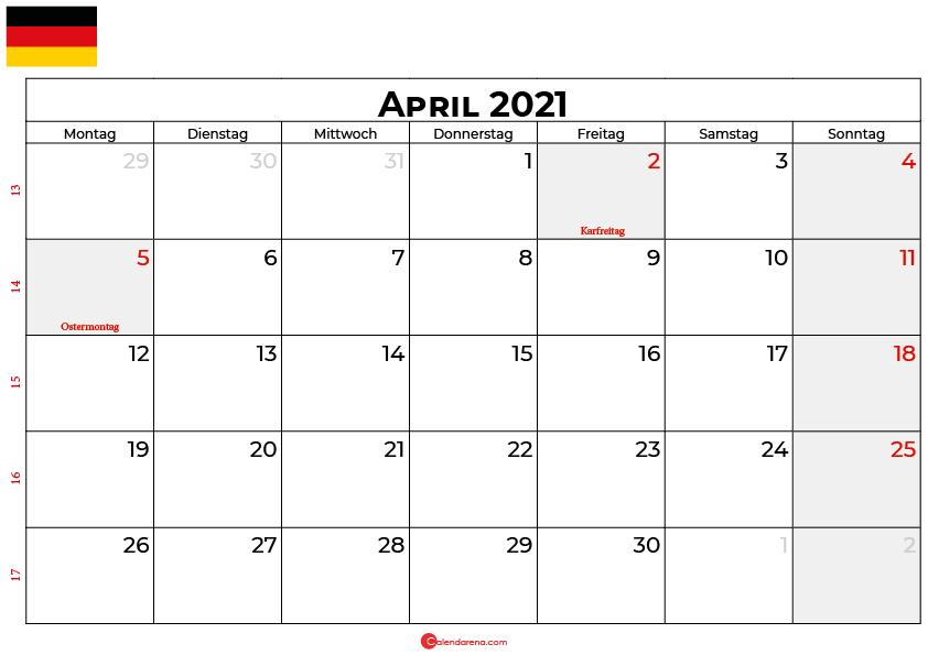 kalender april 2021 Deutschland