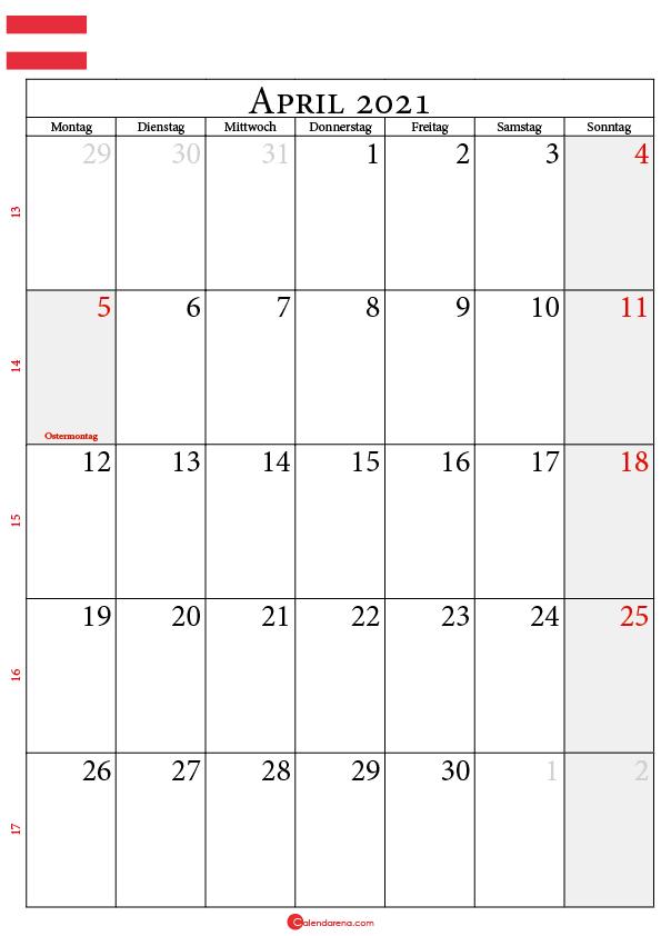 kalender april 2021 Österreich
