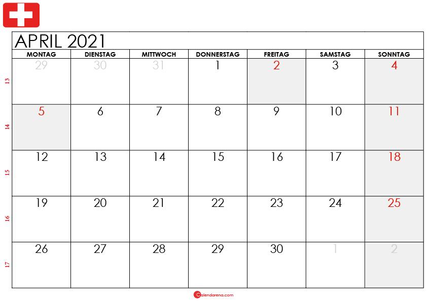 kalender april 2021 Schweiz