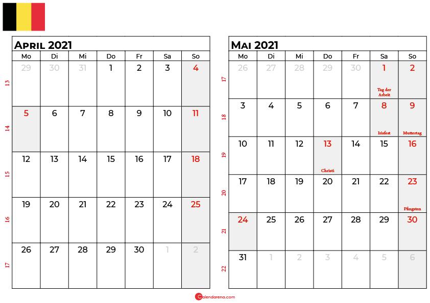 kalender april mai 2021 Belgien