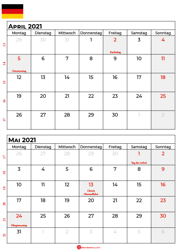 kalender april mai 2021 Deutschland