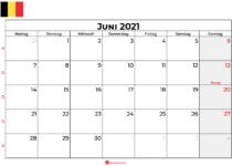 kalender juni 2021 Belgien