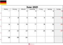 kalender juni 2021 Deutschland