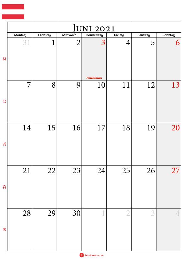 kalender juni 2021 Österreich
