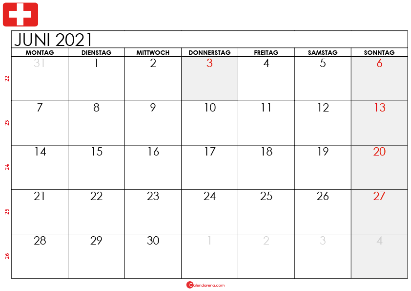 kalender juni 2021 Schweiz