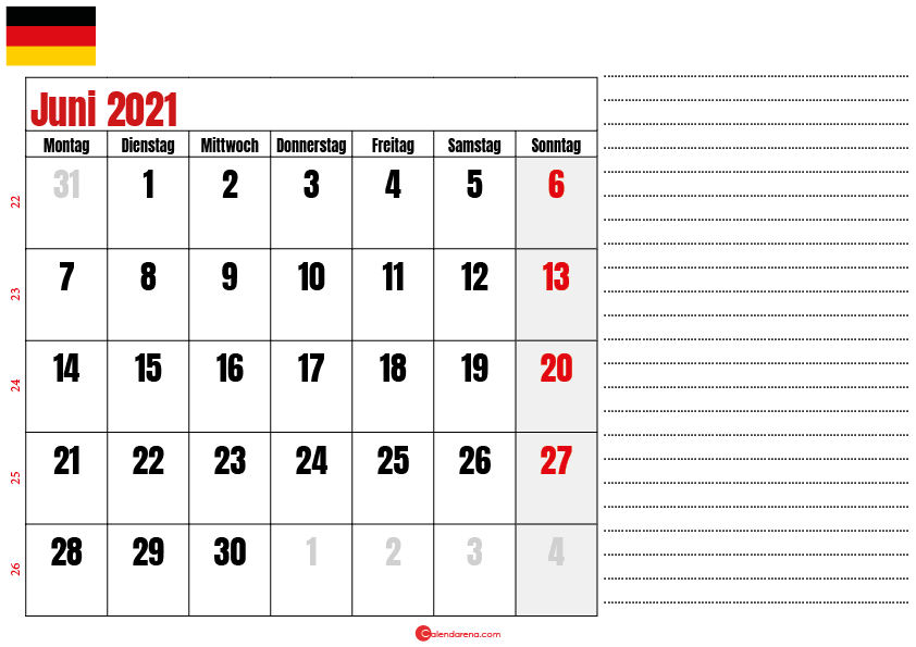 kalender juni 2021 zum ausdrucken Deutschland