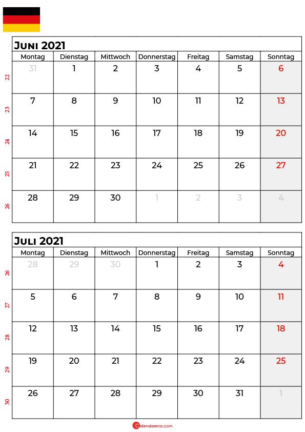 kalender juni juli 2021 Deutschland