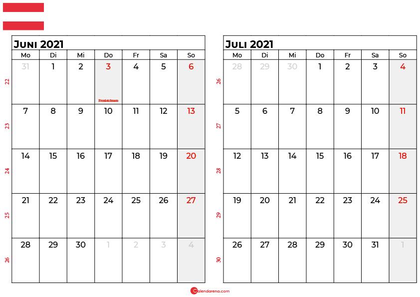 kalender juni juli 2021 Österreich